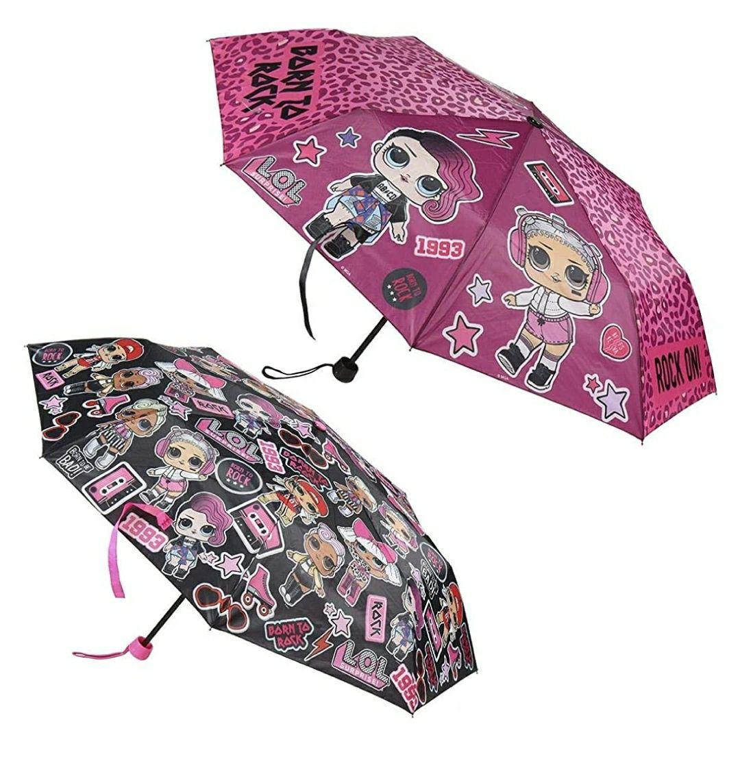 Paraguas de Mano Plegable para Niños de LOL Surprise - Licencia Oficial MGA, Multicolor