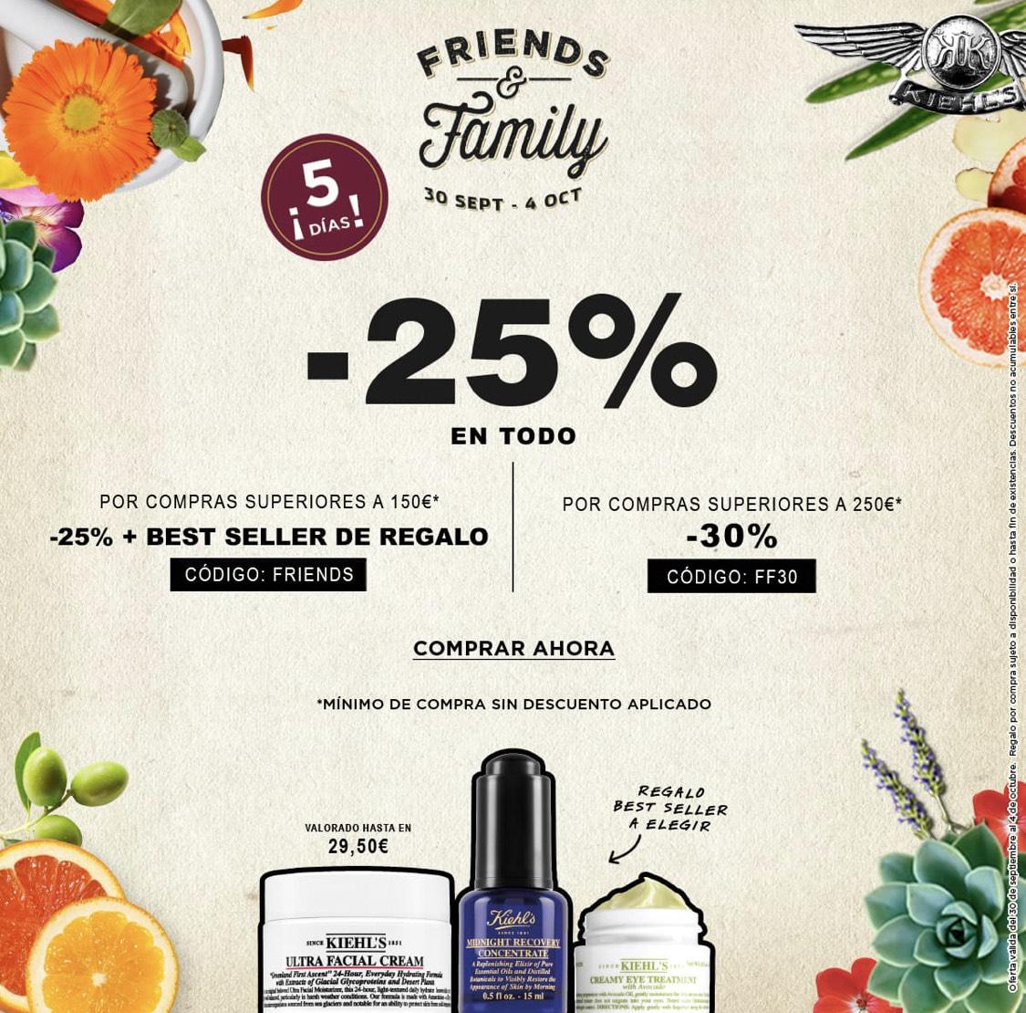 KIEHL'S - Friends & Family de Kiehl's, 25% de descuento en todas las compras