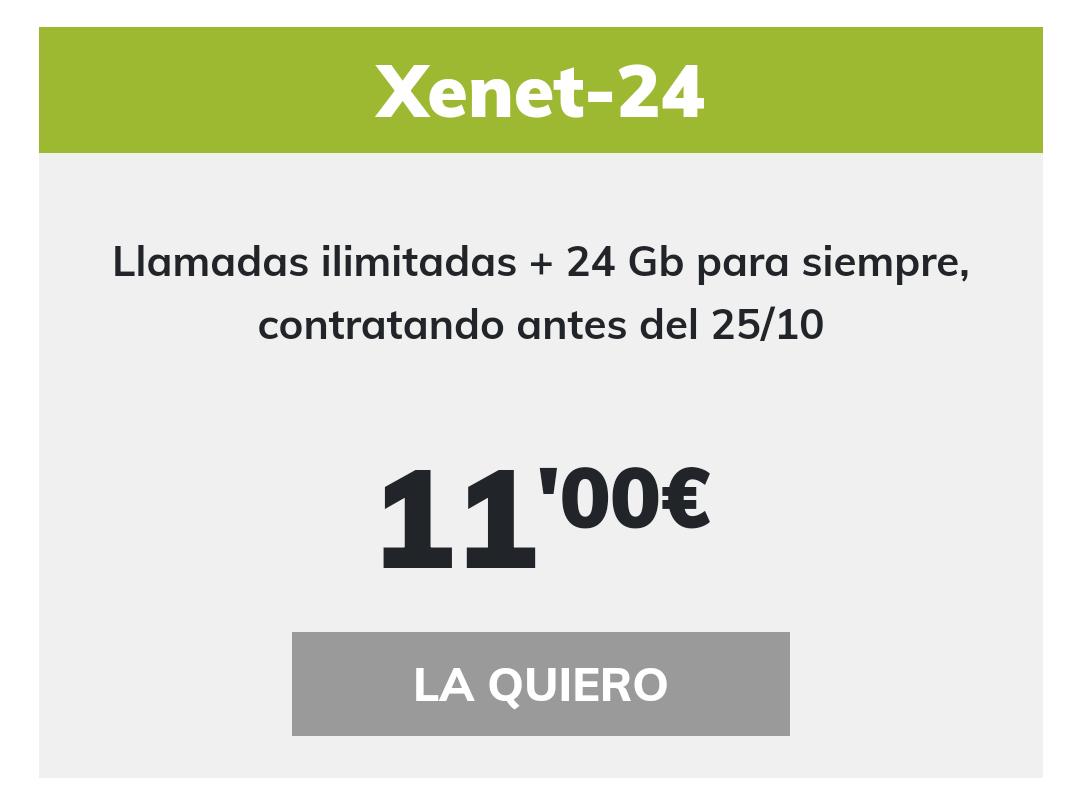 Xenet-24 | Llamadas ilimitadas + 24 Gb para siempre