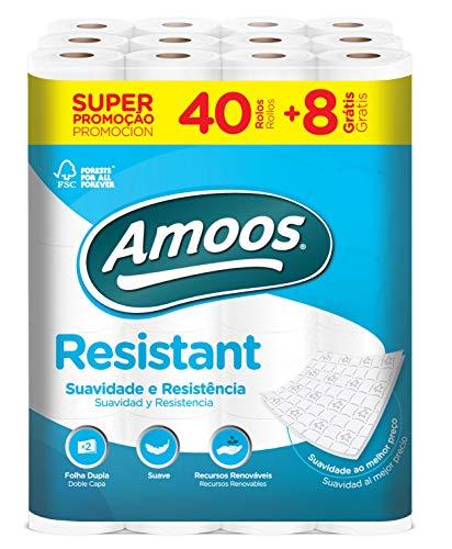 48 rollos de papel higiénico Amoos Resistant 2 Capas
