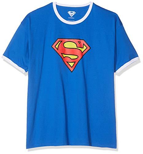 DC Comics Superman Logo Camiseta para Hombre.Talla S,Color: Royal/White