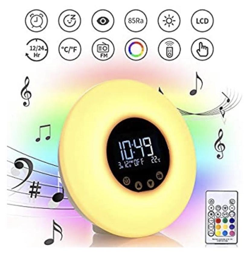 Reloj despertador con luz y puesta de sol, 9 colores, luz de noche de 10 brillos con radio FM por USB
