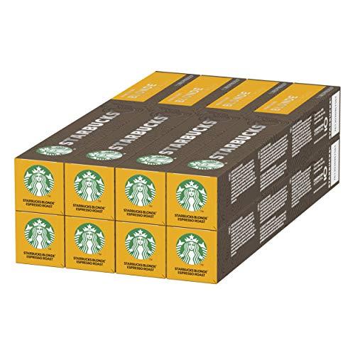 Starbucks BLONDE Espresso Roast de NESPRESSO Cápsulas de café de tostado suave, 8 x tubo de 10 unidades