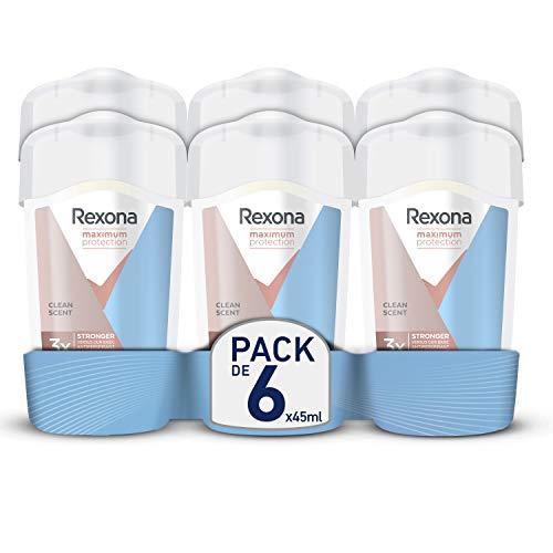 Rexona Maximum Protection Crema Antitranspirante Clean Scent 45ml - Pack de 6