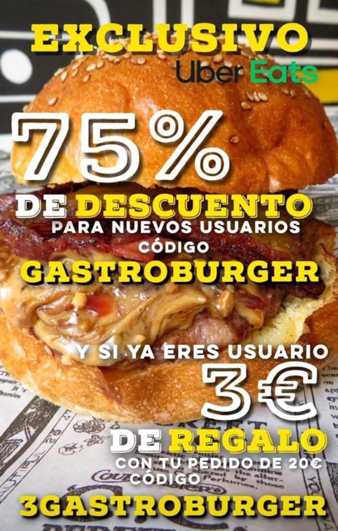 75% Descuento nuevos usuarios y 3€ para usuarios GastroBurger - Hospitalet