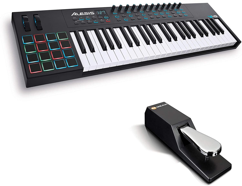 Teclado Controlador MIDI USB de 49 Teclas, Pads, Mandos y Botones Asignables, Salida MIDI 5 Puntas + Pedal*Mínimo histórico*