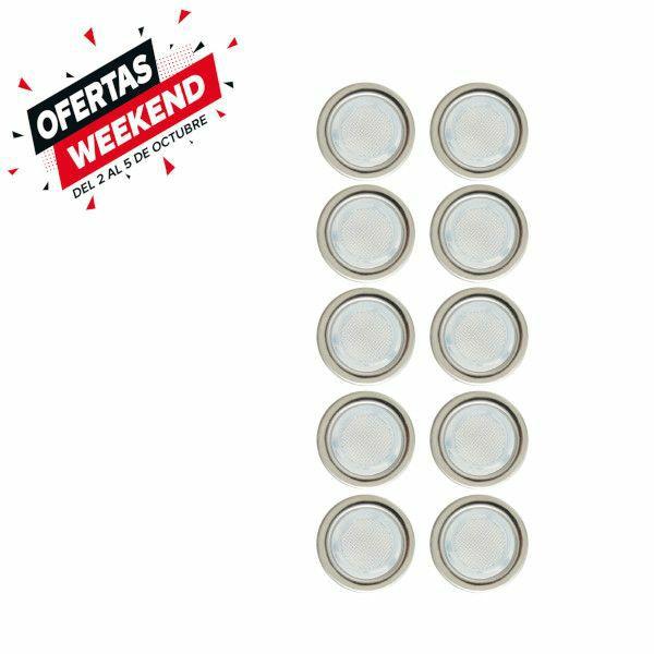 Pack 10 focos LED empotrables de suelo (luz azul)acero INOX y resistente al agua.