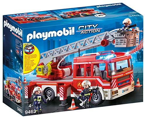 PLAYMOBIL City Action Camión de Bomberos con Escalera, Luces y Sonido