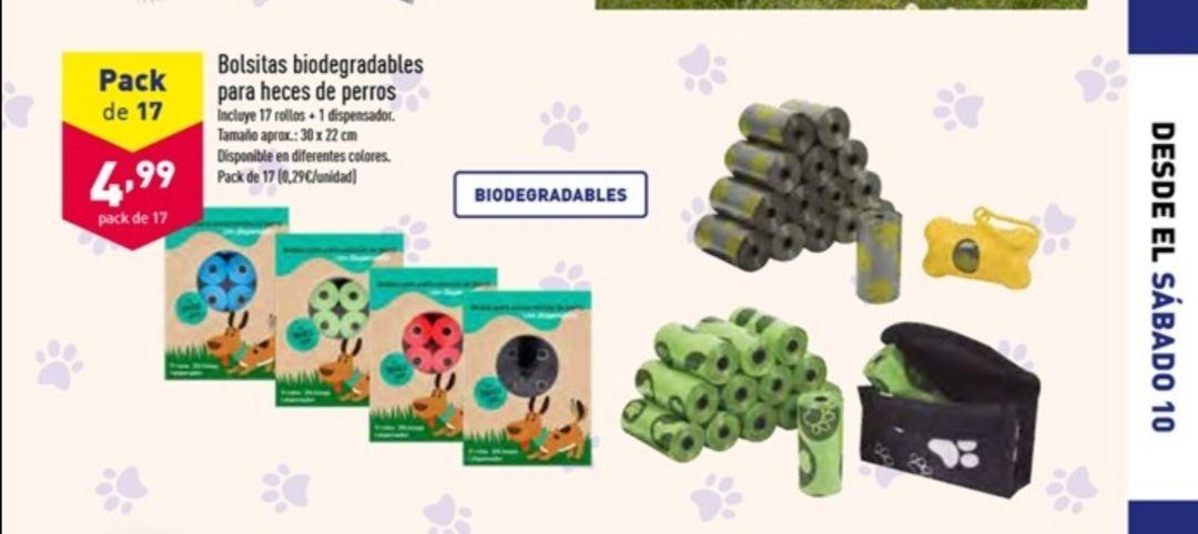 Bolsas biodegradables para heces. En ALDI