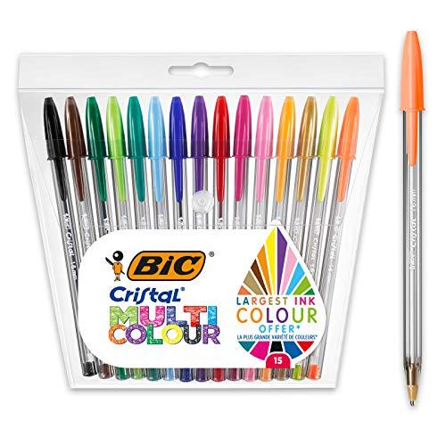 Blister con 15 bolígrafos Multicolor de punta ancha 1,6 mm Bic Cristal por sólo 3,74€