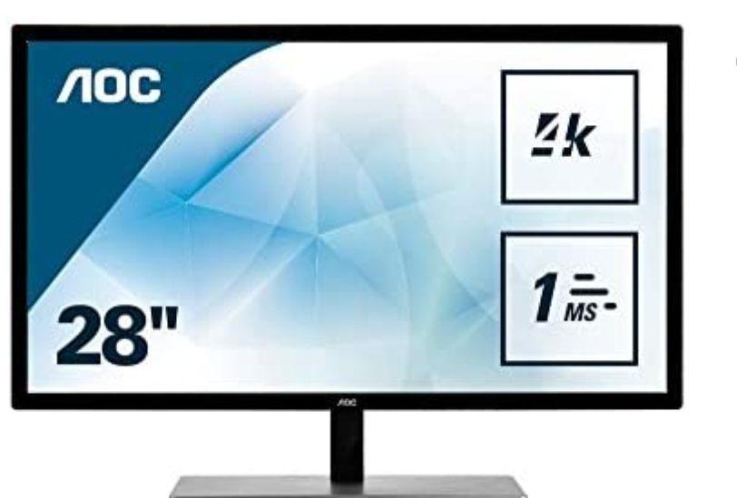 "AOC Monitor de 28"" 4K UHD (3840 x 2160, 60 Hz, TN, 1 ms, FreeSync, Displayport, HDMI)"