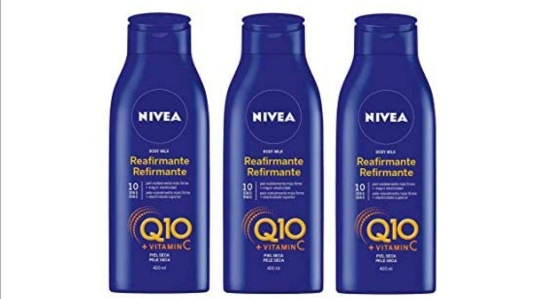 NIVEA Q10 Body Milk Reafirmante en pack de 3 (3 x 400 ml), loción corporal hidratante