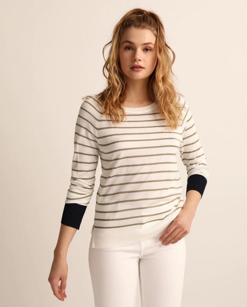 Jersey de mujer con cuello redondo y puños a contraste EASY WEAR