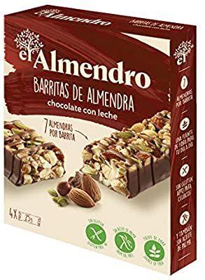 El Almendro. Barritas de Almendra y Chocolate con Leche 4X25gr. Sin gluten(2 unid 50%.)