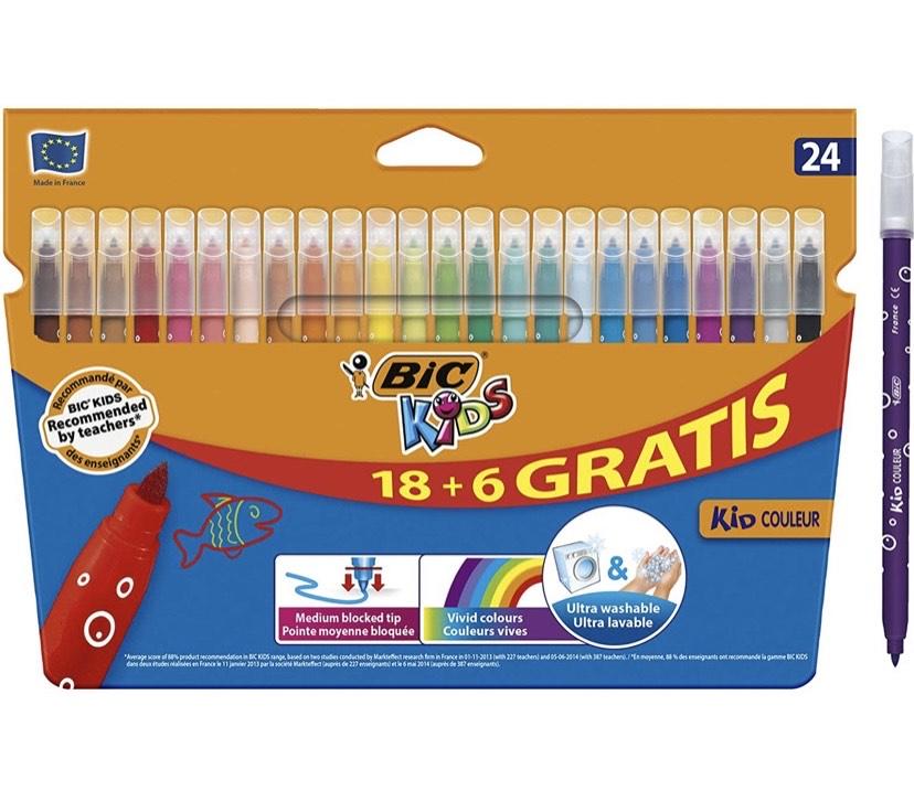 BIC Kids Kid Couleur rotuladores punta media - colores Surtidos, Caja de 18+6