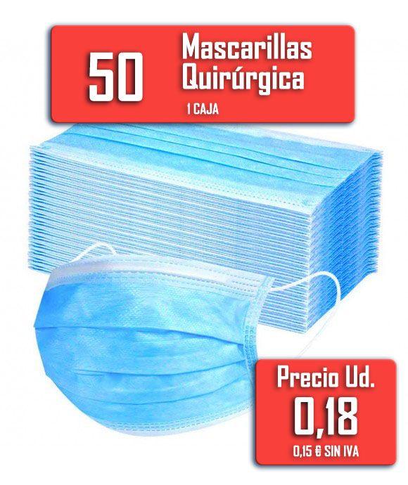 Mascarillas quirúrgicas 50 unidades