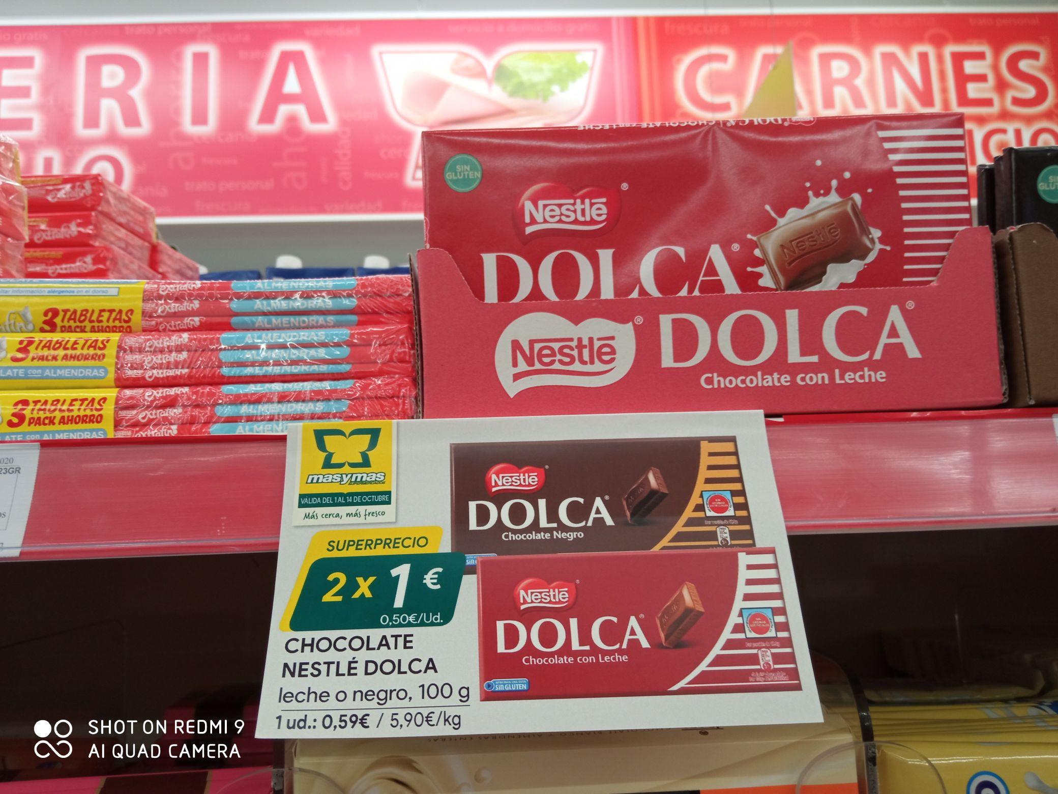 Nestle Dolca, chocolate con leche o negro 2x1€. Supermercados Mas y Mas