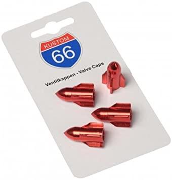 KUSTOM66 'Juego de 4 Tapones de válvula Rocket en Rojo