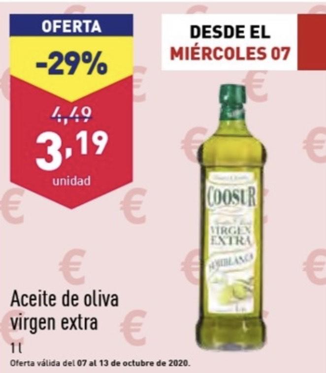 Botella de aceite coosur virgen extra 1 litro en Aldi