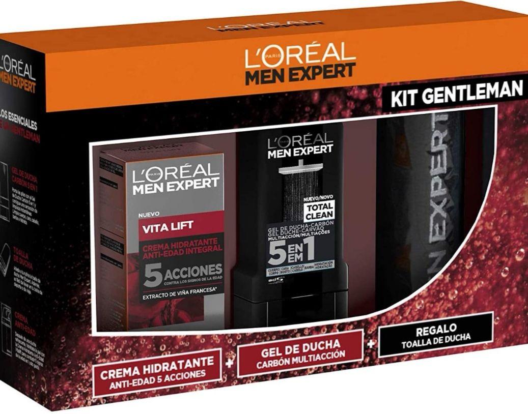 L'Oréal Men Expert Cofre Vitalift Crema anti-edad Vitalift + Gel de Ducha 5 en 1 + toalla de regalo.