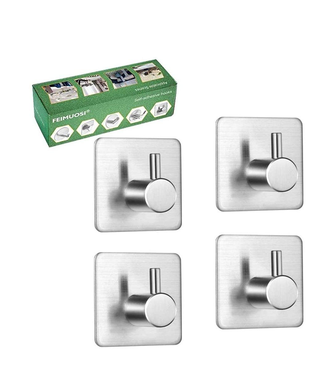 Ganchos Autoadhesivos 4 piezas, colgadores pared adhesivos inoxidable acero