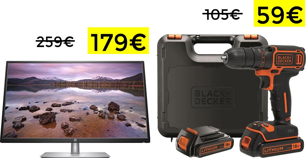 """Chollos PrimeDay (Monitor HP 32"""" 179€ y Black+Decker 2 baterías por 59€)"""