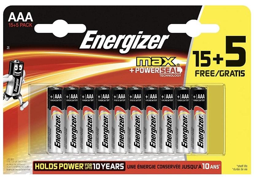 Energizer - Pack de 20 Pilas alcalinas MAX LR03 AAA, 50% más de Rendimiento, 1.5V