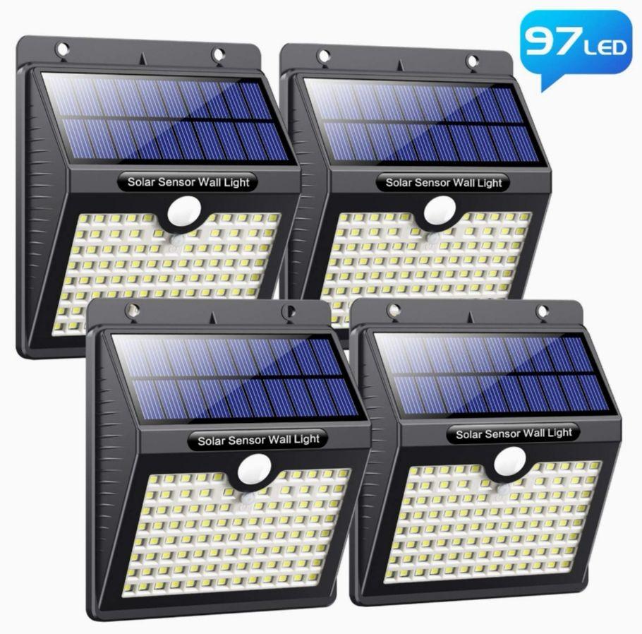 4 Unidades Foco Solar Exterior con Sensor de Movimiento 97 LED (Precio mínimo)