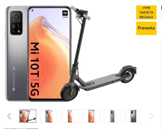 Smartphone XIAOMI Mi 10T 5G + Mi Eletric Scooter Essential+99 euros tarjeta regalo.