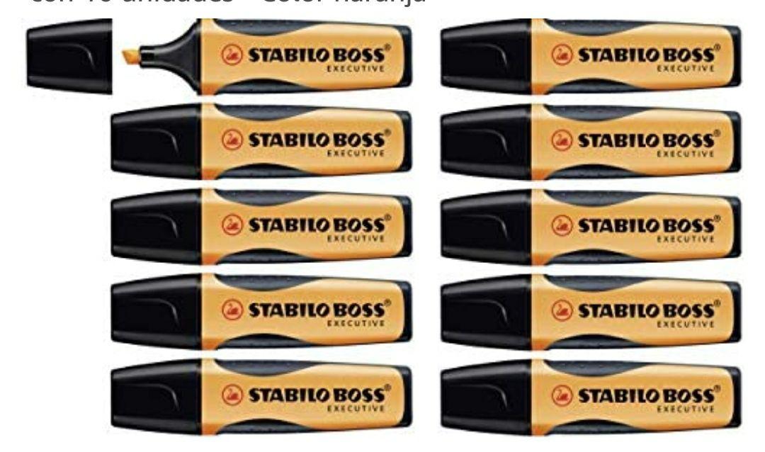Marcador fluorescente STABILO BOSS Executive - Caja con 10 unidades - Color naranja
