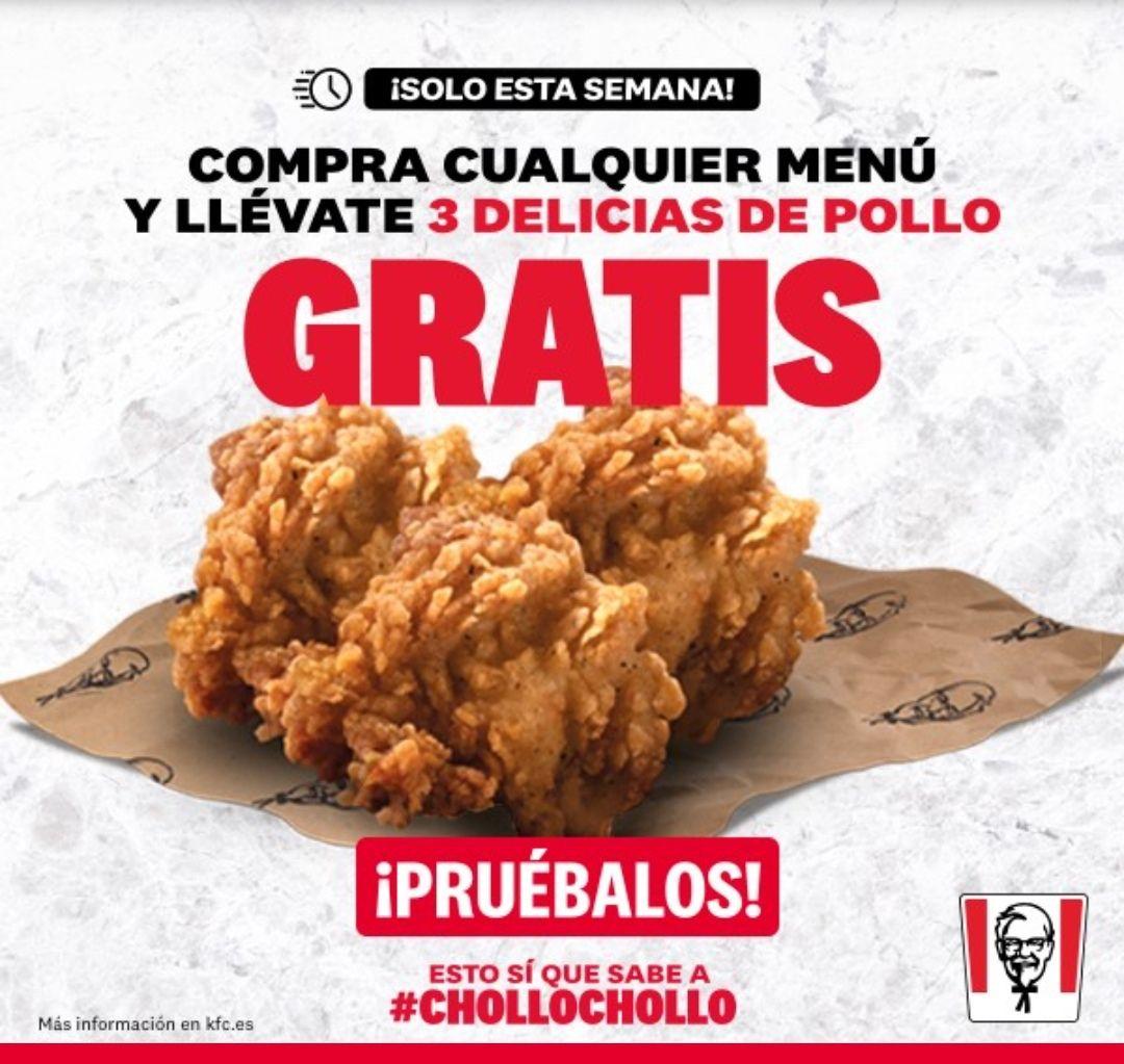 3 delicias de pollo gratis con tu menú