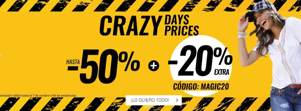 Crazy days hasta 50% + 20% EXTRA - Código: MAGIC20