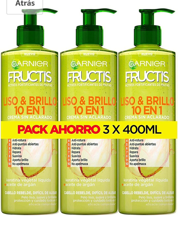 Garnier Fructis Liso & Brillo 10 en 1 Crema Sin Aclarado para Pelo Liso, Rebelde, Difícil de Alisar - 3 Unidades x 400 ml