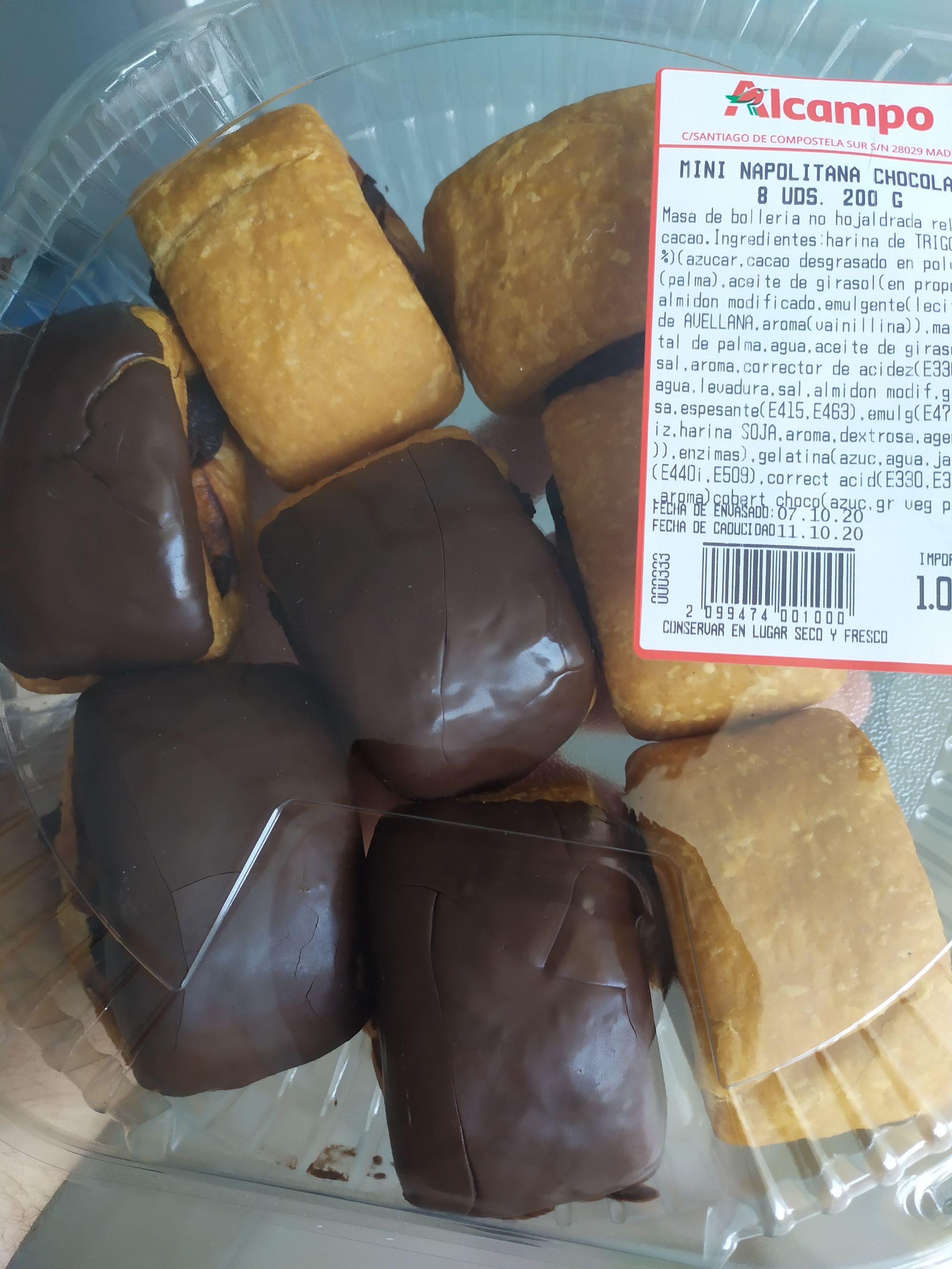 Mini napolitanas de chocolate 8 unidades 200g (Alcampo)