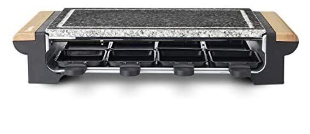H.Koenig RP328 Raclette 8 Personas, Plancha de Piedra Natural, 1400 W, Acero Inoxidable