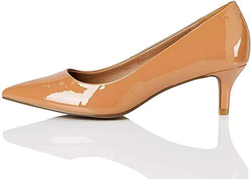 Marca Amazon. Zapatos de tacón con punta cerrada Mujer.Talla 36. Color: Braun Praline Nude