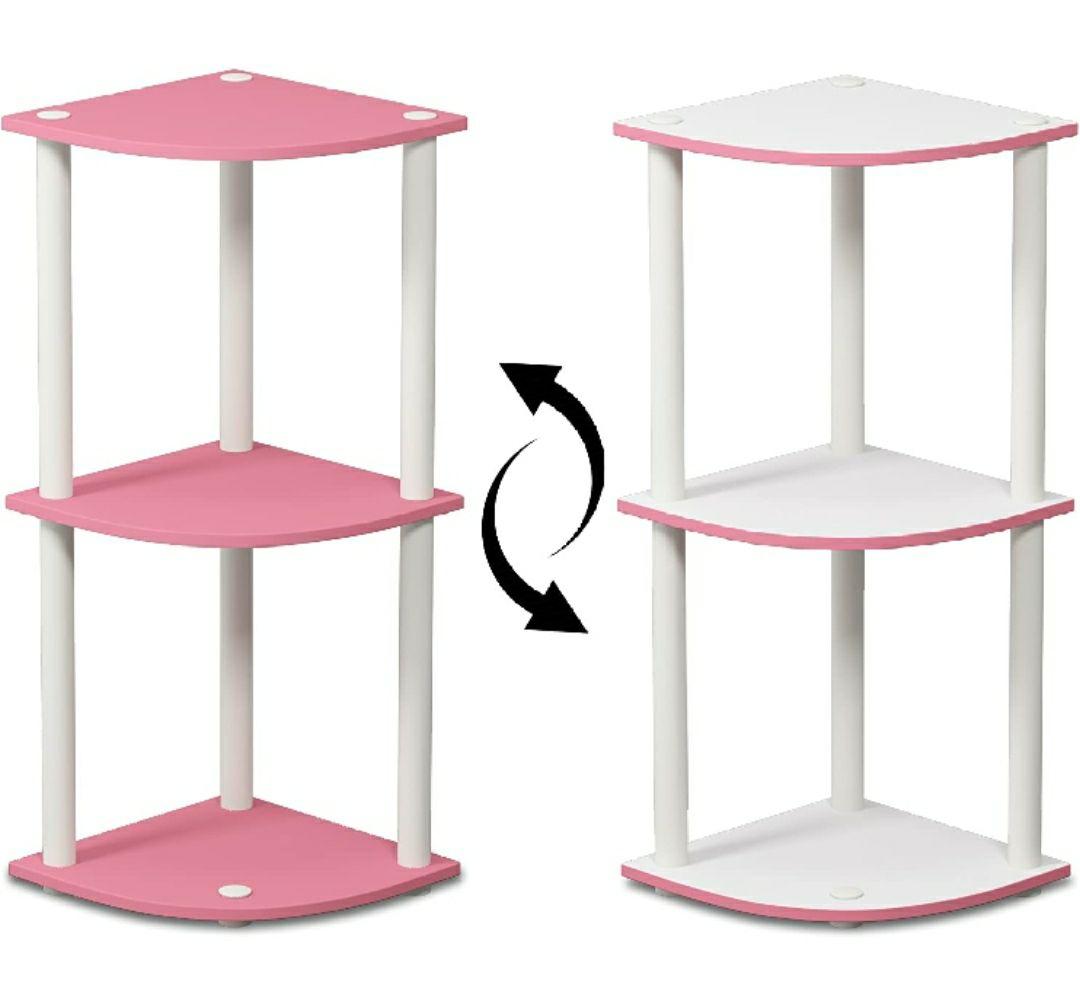 Furinno Estantería Rosa/Blanco 3 niveles