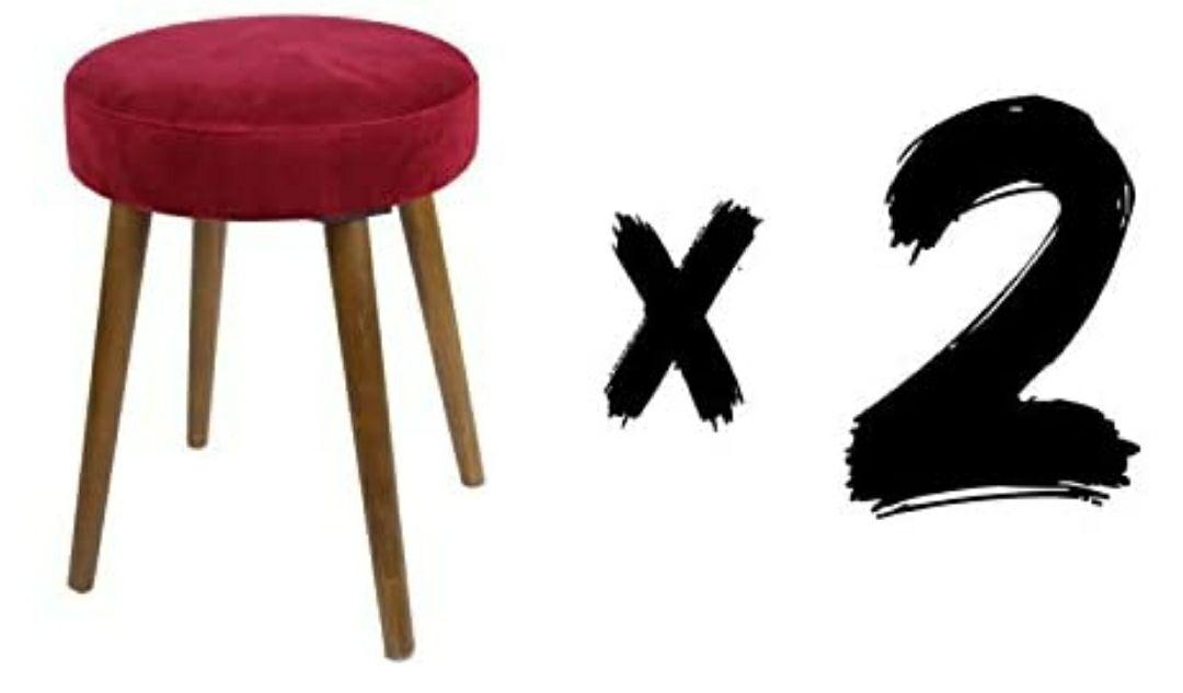 SUÁREZ Velvet Pack 2 taburetes 36 x 36 x 49 cm Rojo Sillas, Poliéster, 36x36x49 cm, 2 Unidades