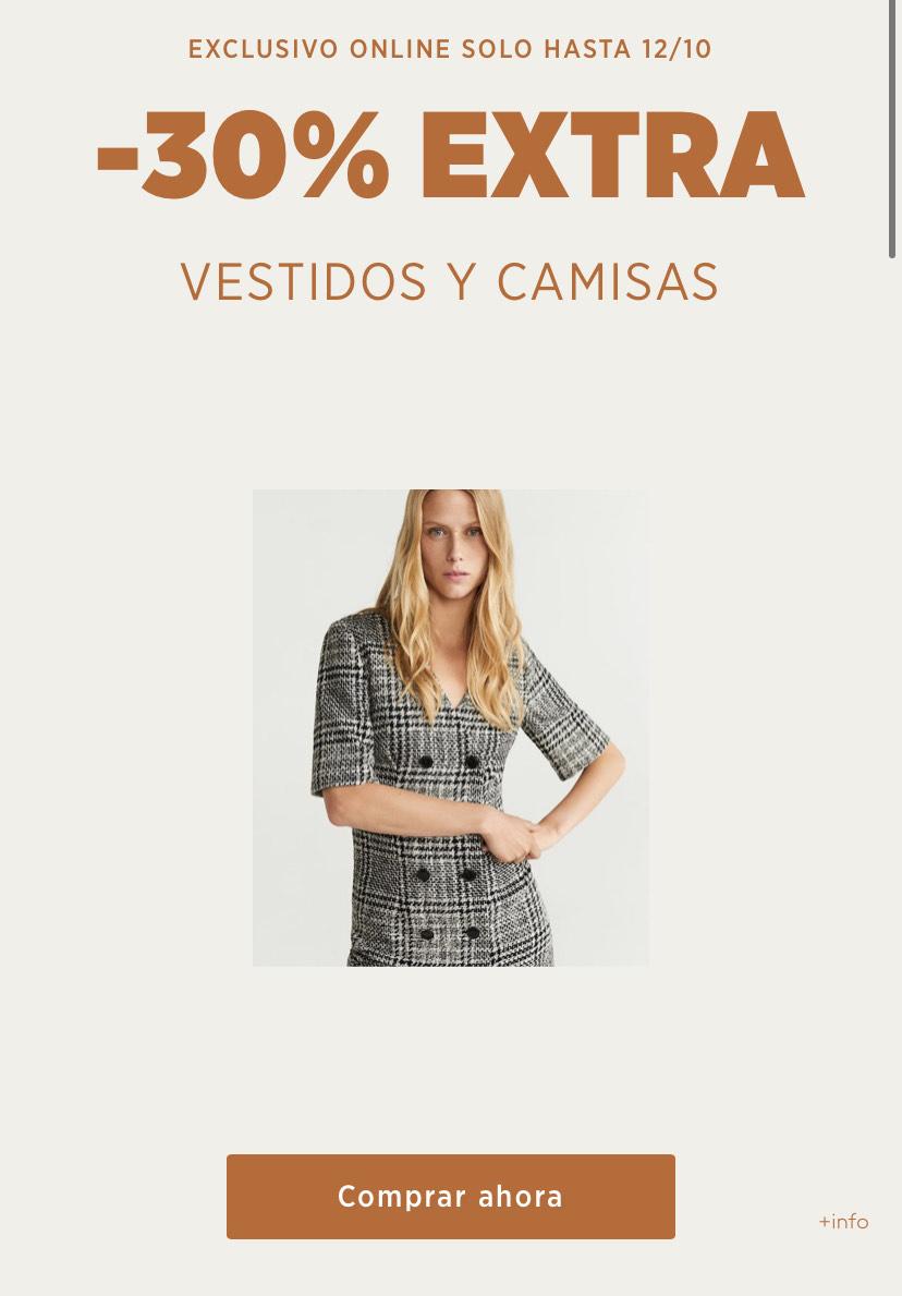 30% extra camisas y vestidos mango outlet