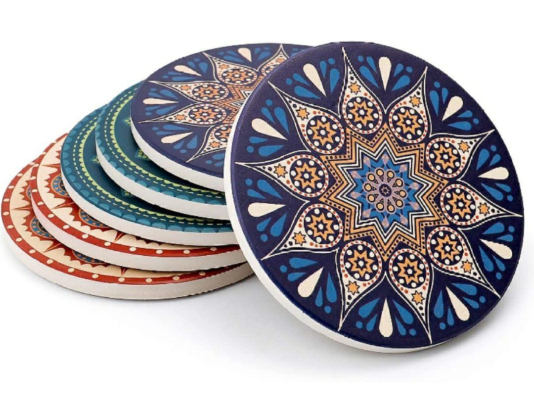 Sweese - Juego de 6 posavasos de cerámica con base de corcho absorbente