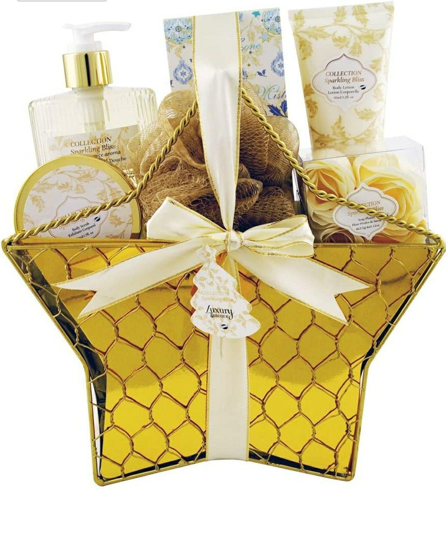 Gloss - caja de baño, caja de regalo para mujeres - Espumoso Estrella de baño Bliss - flores blancas y almizcle - 6pcs