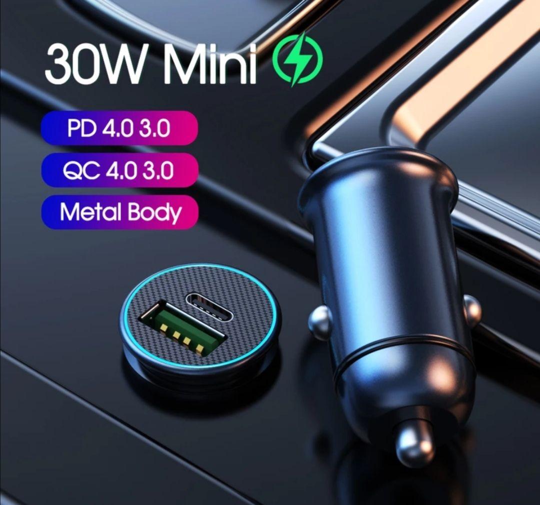 Cargador coche USB Tipo C QC 30W