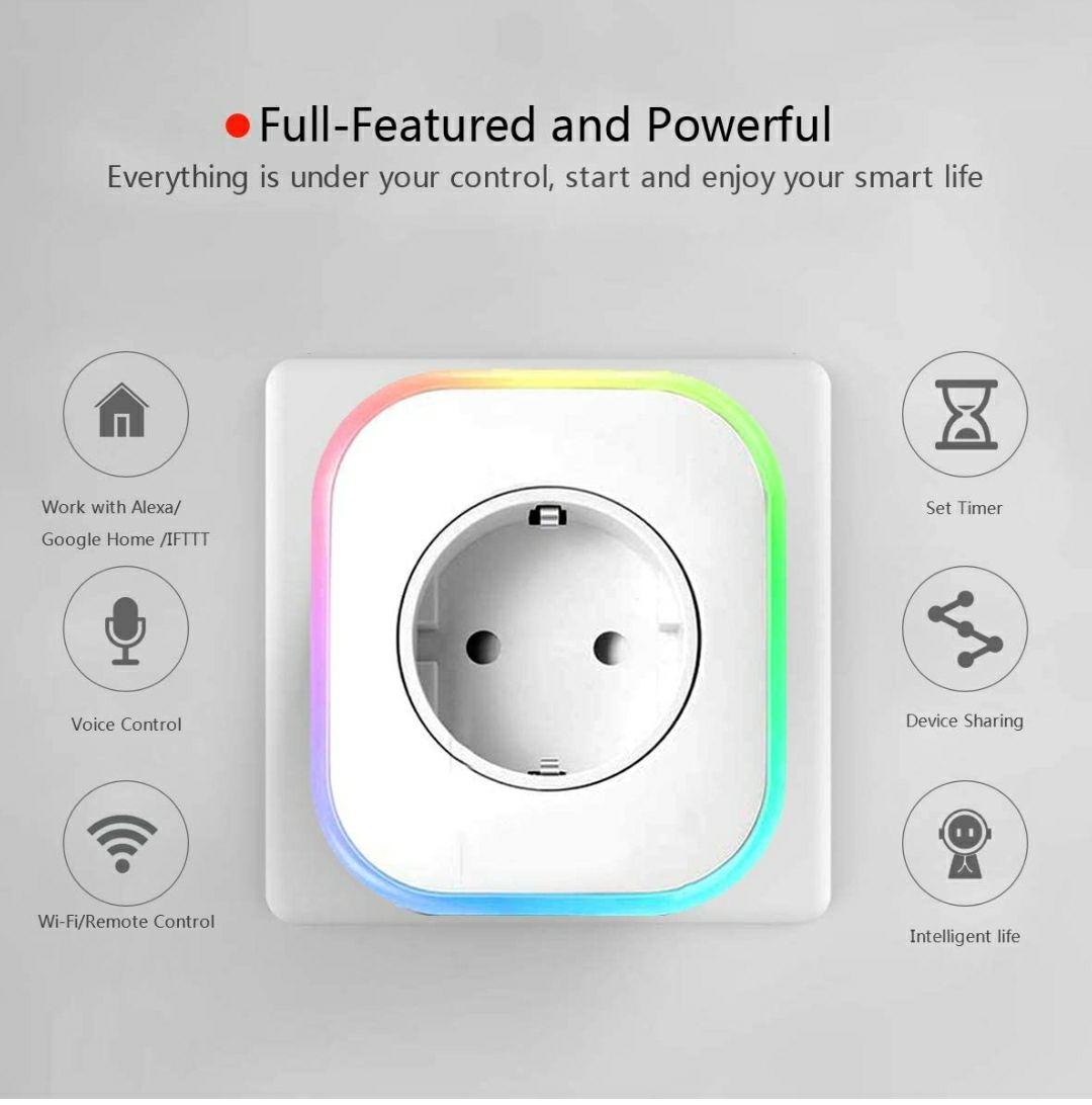 Enchufe Wifi, Hedynshine Enchufe Inteligente con USB, Control Remoto/Mando de Voz, Compatible con Google Home/Amazon Alexa/Android/IOS