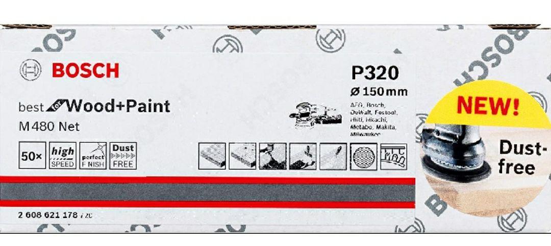 Bosch Professional Hojas de lija M480 madera y pintura, grano P80, accesorios para lijadora excéntrica, 0 W, 0 V, Ø 150 mm, Set de 50 Piezas