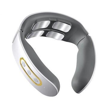Masajeador de cuello inteligente inalámbrico eléctrico TENS Pulse Vibrador de 4 cabezas Calefacción Masaje cervical
