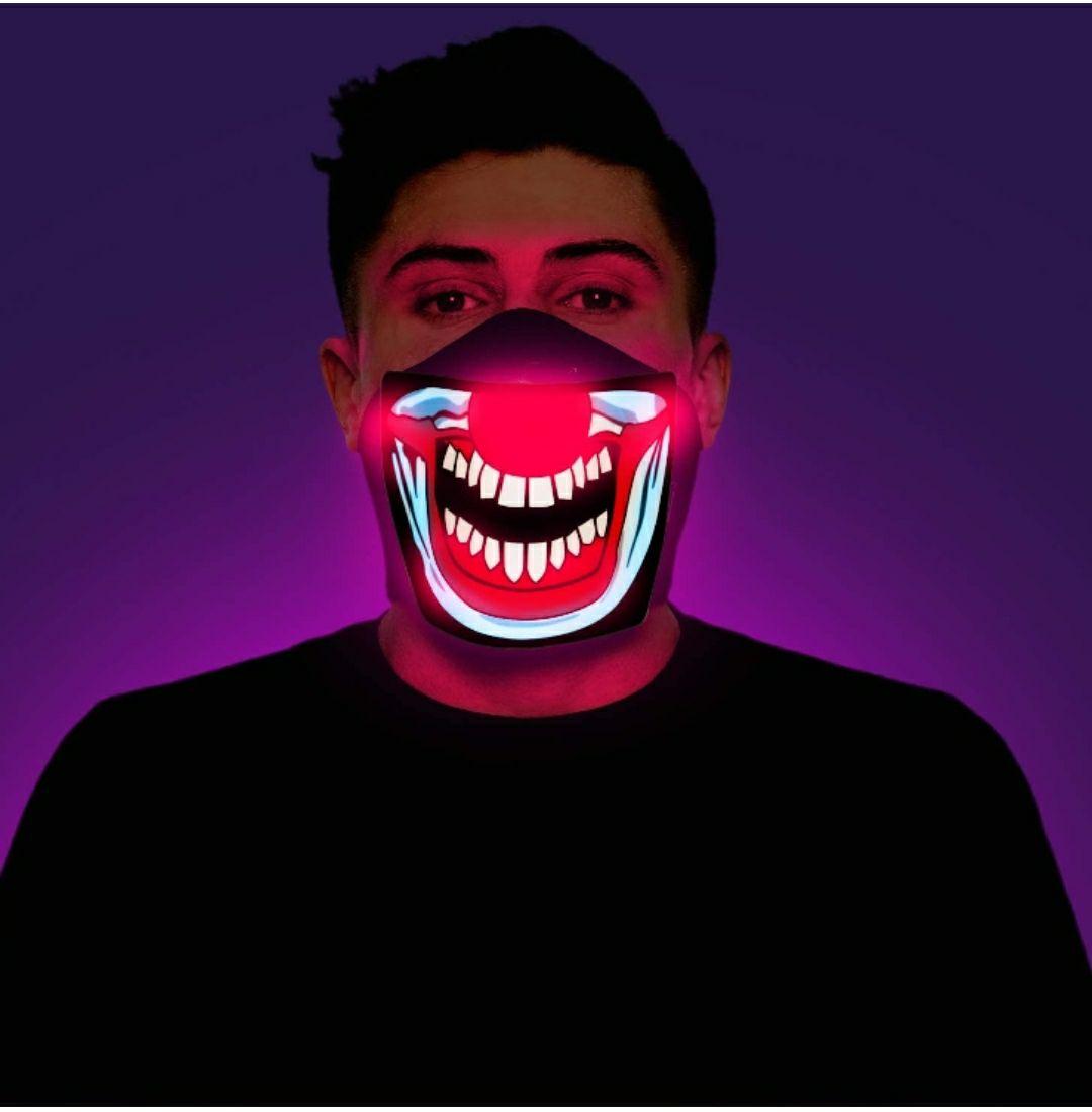 Morph Adulto Iluminarse Screaming Payaso del Demonio Hallowen LED Media máscara
