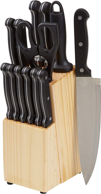 AmazonBasics - Juego de cuchillos de cocina y soporte (14 piezas)