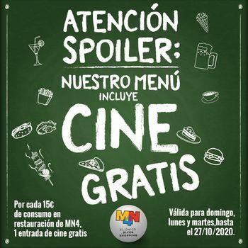 EL CENTRO COMERCIAL   MN4 regala entradas de cine a los visitantes que coman en sus restaurantes