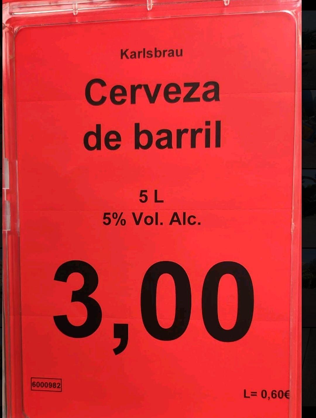Cerveza de barril a sólo 3€ aldi Pl.Artós