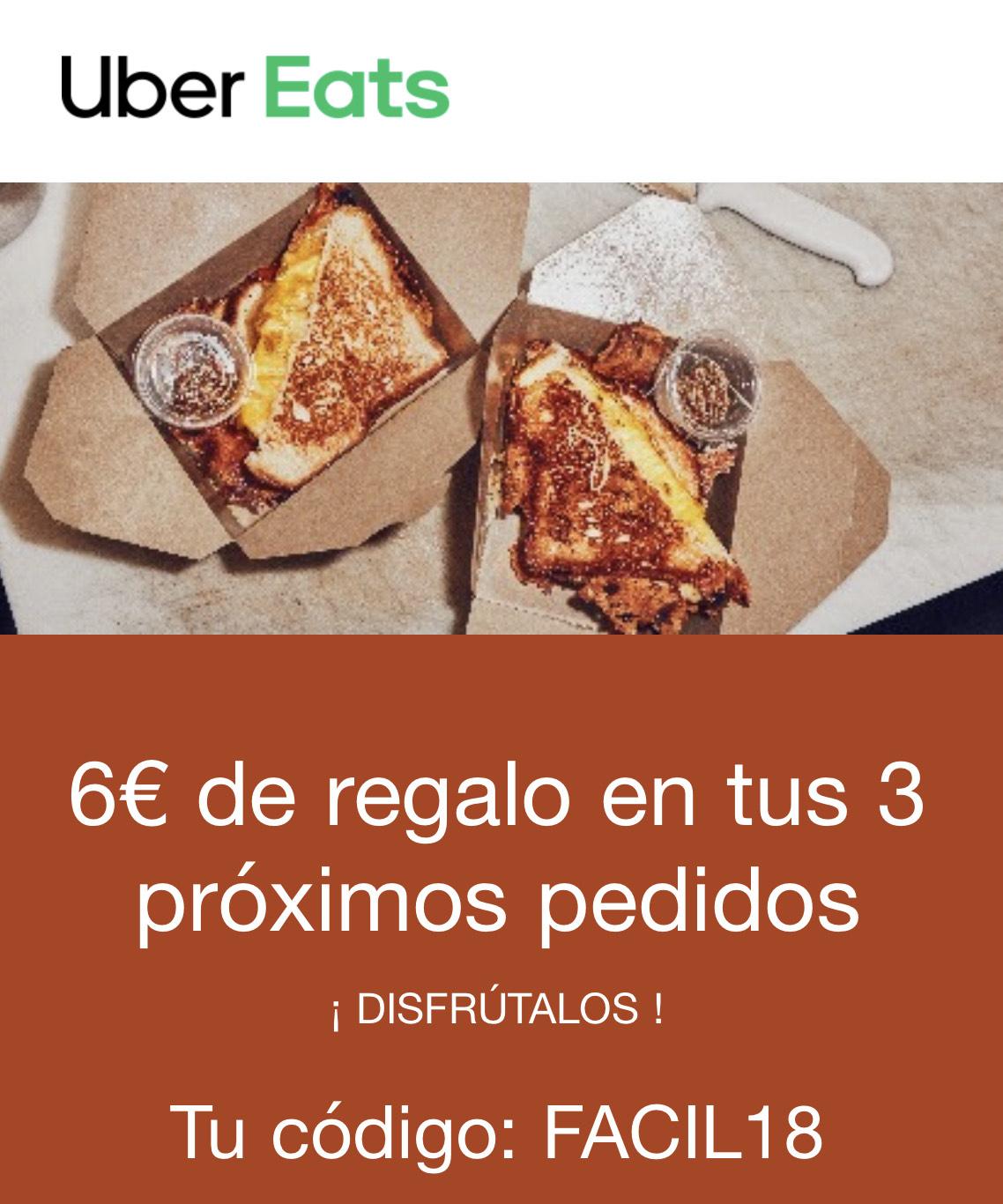-6€ Uber Eats en tus próximos 3 pedidos (Cuentas seleccionadas)